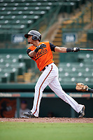 GCL Orioles Darell Hernaiz (1) at bat during a Gulf Coast League game against the GCL Braves on August 5, 2019 at Ed Smith Stadium in Sarasota, Florida.  GCL Orioles defeated the GCL Braves 4-3 in the first game of a doubleheader.  (Mike Janes/Four Seam Images)