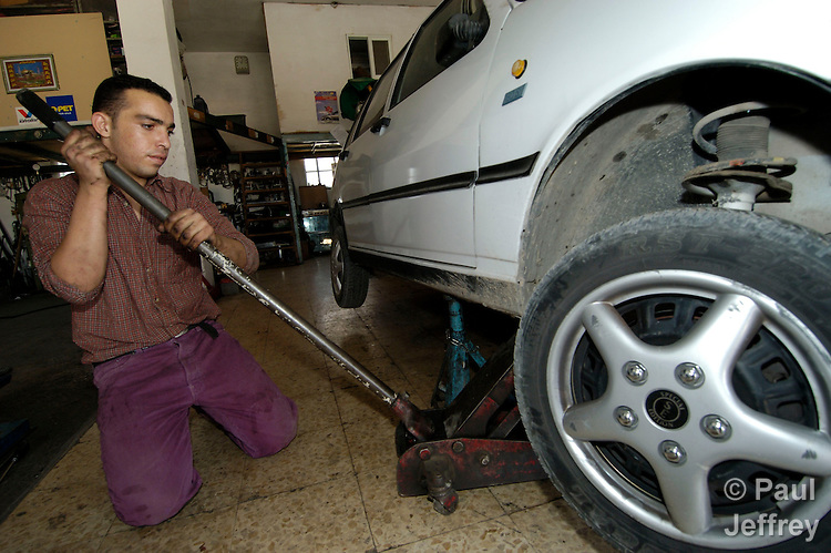 Wajdi Munar, 19, graduated in 2002 from the ACT Alliance-supported Vocational Training Center, run by the Lutheran World Federation in Beit Hanina. Today he is one of a minority of Palestinians with steady employment.