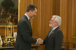 King Felipe VI of Spain during Royal Audiences with Real Academia Espanola director DARIO VILLANUEVA PRIETO at Zarzuela Palace in Madrid, Spain. January 27, 2015. (ALTERPHOTOS/Victor Blanco)