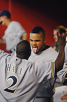 Aug 21, 2007; Phoenix, AZ, USA; Milwaukee Brewers first baseman (28) Prince Fielder jokes with center fielder (2) Bill Hall prior to the game against the Arizona Diamondbacks at Chase Field. Mandatory Credit: Mark J. Rebilas-US PRESSWIRE Copyright © 2007 Mark J. Rebilas