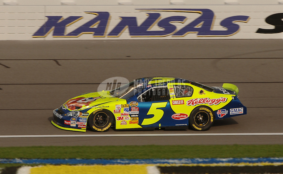 Sept. 30, 2006; Kansas City, KS, USA; Nascar Nextel Cup driver Kyle Busch (5) during practice for the Banquet 400 at Kansas Speedway. Mandatory Credit: Mark J. Rebilas
