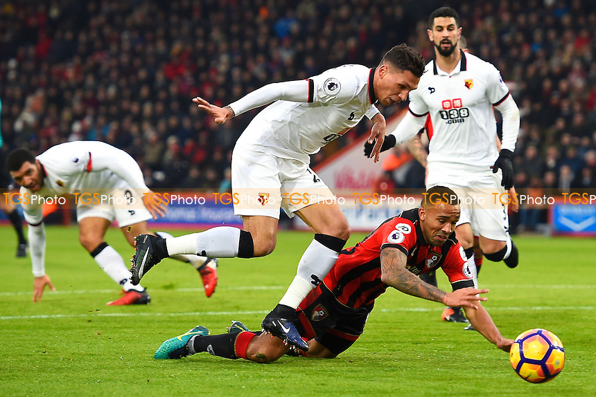 Penalty shout as Callum Wilson of AFC Bournemouth is brought down in the area by Miguel Angel Britos of Watfordte during AFC Bournemouth vs Watford, Premier League Football at the Vitality Stadium on 21st January 2017