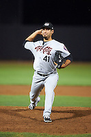 Tri-City ValleyCats pitcher Ralph Garza (41) delivers a pitch during a game against the Aberdeen Ironbirds on August 6, 2015 at Ripken Stadium in Aberdeen, Maryland.  Tri-City defeated Aberdeen 5-0 as Kevin McCanna, Garza and Zach Person combined to throw a no-hitter.  (Mike Janes/Four Seam Images)