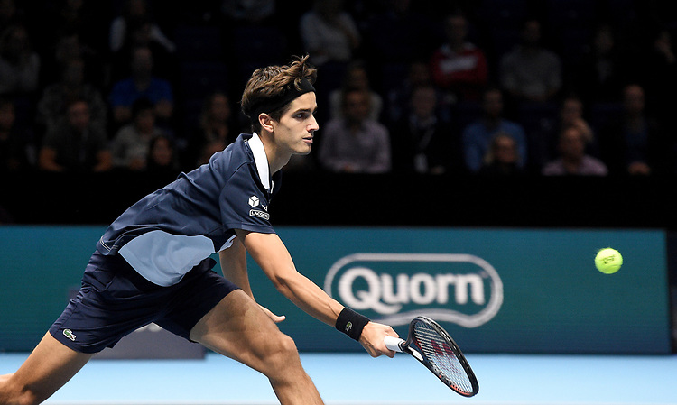 Pierre-Hugues Herbert in action against Oliver Marach and Mate Pavic <br /> <br /> Photographer Hannah Fountain/CameraSport<br /> <br /> International Tennis - Nitto ATP World Tour Finals Day 2 - O2 Arena - London - Monday 12th November 2018<br /> <br /> World Copyright © 2018 CameraSport. All rights reserved. 43 Linden Ave. Countesthorpe. Leicester. England. LE8 5PG - Tel: +44 (0) 116 277 4147 - admin@camerasport.com - www.camerasport.com