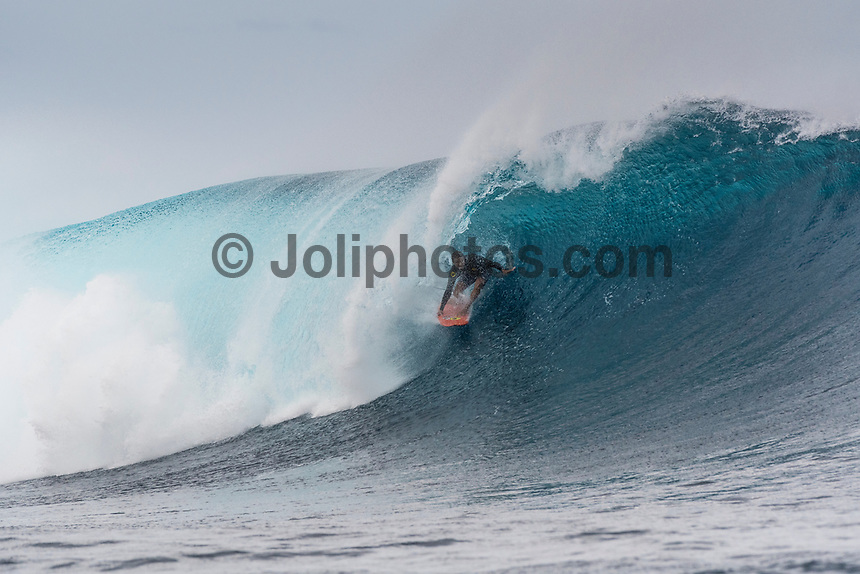 Namotu Island Resort, Nadi, Fiji (Monday, May 22 2017): Alex Gray (USA) - The wind  this morning was light from the South South East with high tide around 3.30pm.  The swell had jumped overnight and continued to build through the day. Cloudbreak had 10' plus faces and was barreling through the inside ,especially around the 9.30 low tide. A big group of pro surfers, both male and female, were surfing Cloudbreak in preparation for the OK Fiji Pro which begins on Saturday. Guests surfed Cloudbreak and Lefts.   The fishing crew returned with a catch of Ruby Snapper. Photo: joliphotos.com