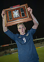 Scotland's Calvin Miller with the Victory Shield after his goal help Scotland beat England 1-0 at Starks Park, Kirkcaldy.