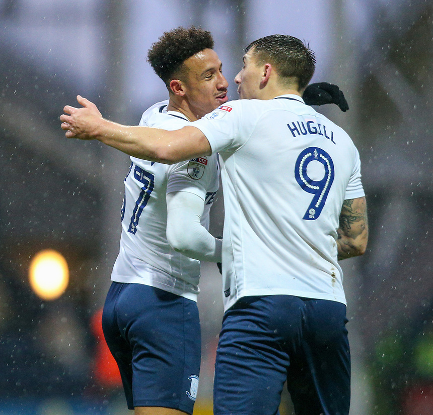 Preston North End's Callum Robinson celebrates scoring his side's equalising goal to make the score 1-1 with Jordan Hugill<br /> <br /> Photographer Alex Dodd/CameraSport<br /> <br /> The EFL Sky Bet Championship - Preston North End v Middlesbrough - Monday 1st January 2018 - Deepdale Stadium - Preston<br /> <br /> World Copyright &copy; 2018 CameraSport. All rights reserved. 43 Linden Ave. Countesthorpe. Leicester. England. LE8 5PG - Tel: +44 (0) 116 277 4147 - admin@camerasport.com - www.camerasport.com