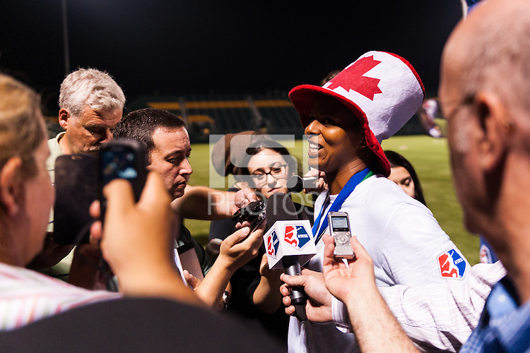Portland Thorns goalkeeper Karina LeBlanc (1) is interviewed after the match. The Portland Thorns defeated the Western New York Flash 2-0 during the National Women's Soccer League (NWSL) finals at Sahlen's Stadium in Rochester, NY, on August 31, 2013.