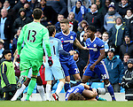 Scuffles break out as David Luiz of Chelsea lies on the floor during the Premier League match at the Etihad Stadium, Manchester. Picture date: December 3rd, 2016. Pic Simon Bellis/Sportimage