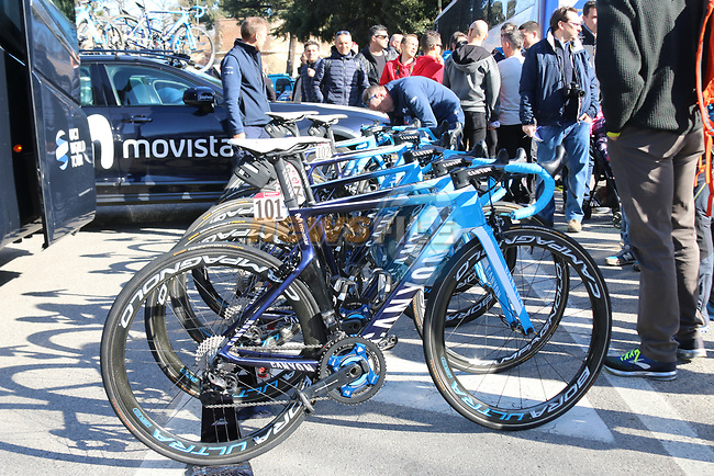 Movistar Team Canyon bikes lined up before the start of Strade Bianche 2019 running 184km from Siena to Siena, held over the white gravel roads of Tuscany, Italy. 9th March 2019.<br /> Picture: Seamus Yore | Cyclefile<br /> <br /> <br /> All photos usage must carry mandatory copyright credit (© Cyclefile | Seamus Yore)