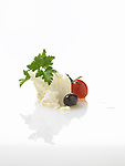 ingredients, feta cheese, parsley, cherry tomato, olive
