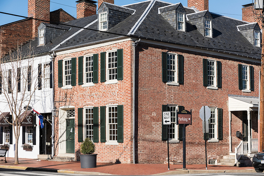 Historic downtown Fredericksburg, Virginia, USA