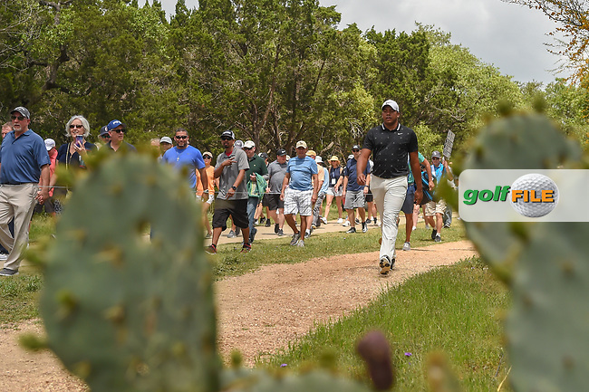 Jhonattan Vegas (VEN) makes his way to the tee on 2 during day 1 of the Valero Texas Open, at the TPC San Antonio Oaks Course, San Antonio, Texas, USA. 4/4/2019.<br /> Picture: Golffile | Ken Murray<br /> <br /> <br /> All photo usage must carry mandatory copyright credit (© Golffile | Ken Murray)