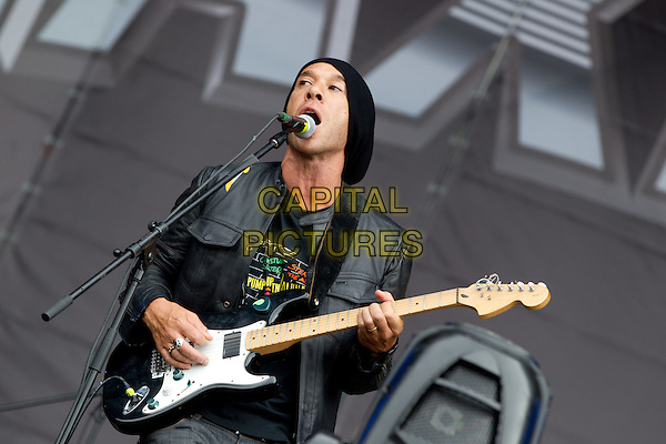 "She Wants Revenge.""MAXIDROM 2012"" Festival, Airfield ""Tushino"", Moscow, Russia..June 11th, 2012.on stage in concert live gig performance music half length black singing leather jacket guitar.CAP/PER/SB.©SB/PersonaStars/CapitalPictures"