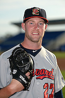 Brevard County Manatees pitcher Stephen Peterson (27) poses for a photo before a game against the Dunedin Blue Jays on April 23, 2015 at Florida Auto Exchange Stadium in Dunedin, Florida.  Brevard County defeated Dunedin 10-6.  (Mike Janes/Four Seam Images)