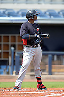 Minnesota Twins first baseman Brian Navarreto (27) during an Instructional League game against the Tampa Bay Rays on September 16, 2014 at Charlotte Sports Park in Port Charlotte, Florida.  (Mike Janes/Four Seam Images)