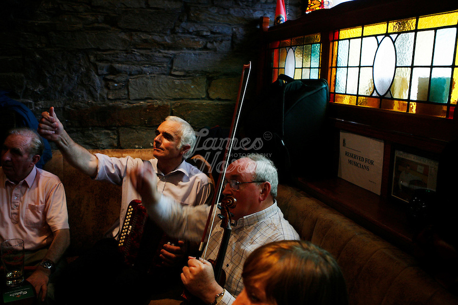 Paddy Lynch and Mary Mc Donald are pictured set dancing at the Armada hotel Spanish point during the Willie Clancy Irish music festival. 9/7/2007.Picture James Horan