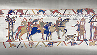 Bayeux Tapestry scene 14: Harold arives at Duke William of Normandy Castle.