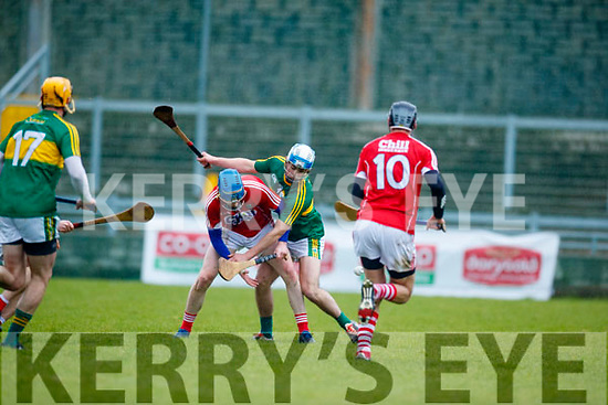 Niall O'Mahony Kerry  in action against Aaron Myers Cork in the Co-op Superstores Munster Senior Hurling League on Sunday 14th January in Austin Stack Park, Tralee.