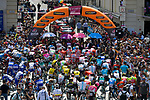 The leaders lined up before the start of Stage 19 of the 2018 Giro d'Italia, running 185km from Venaria Reale to Bardonecchia featuring the Cima Coppi of this Giro, the highest climb on the Colle delle Finestre with its gravel roads, before finishing on the final climb of the Jafferau, Italy. 25th May 2018.<br /> Picture: LaPresse/Marco Alpozzi | Cyclefile<br /> <br /> <br /> All photos usage must carry mandatory copyright credit (&copy; Cyclefile | LaPresse/Marco Alpozzi)