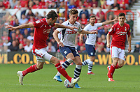 Preston North End's Josh Harrop tries to find a way past Nottingham Forest's Carl Jenkinson<br /> <br /> Photographer David Shipman/CameraSport<br /> <br /> The EFL Sky Bet Championship - Nottingham Forest v Preston North End - Saturday 31st August 2019 - The City Ground - Nottingham<br /> <br /> World Copyright © 2019 CameraSport. All rights reserved. 43 Linden Ave. Countesthorpe. Leicester. England. LE8 5PG - Tel: +44 (0) 116 277 4147 - admin@camerasport.com - www.camerasport.com