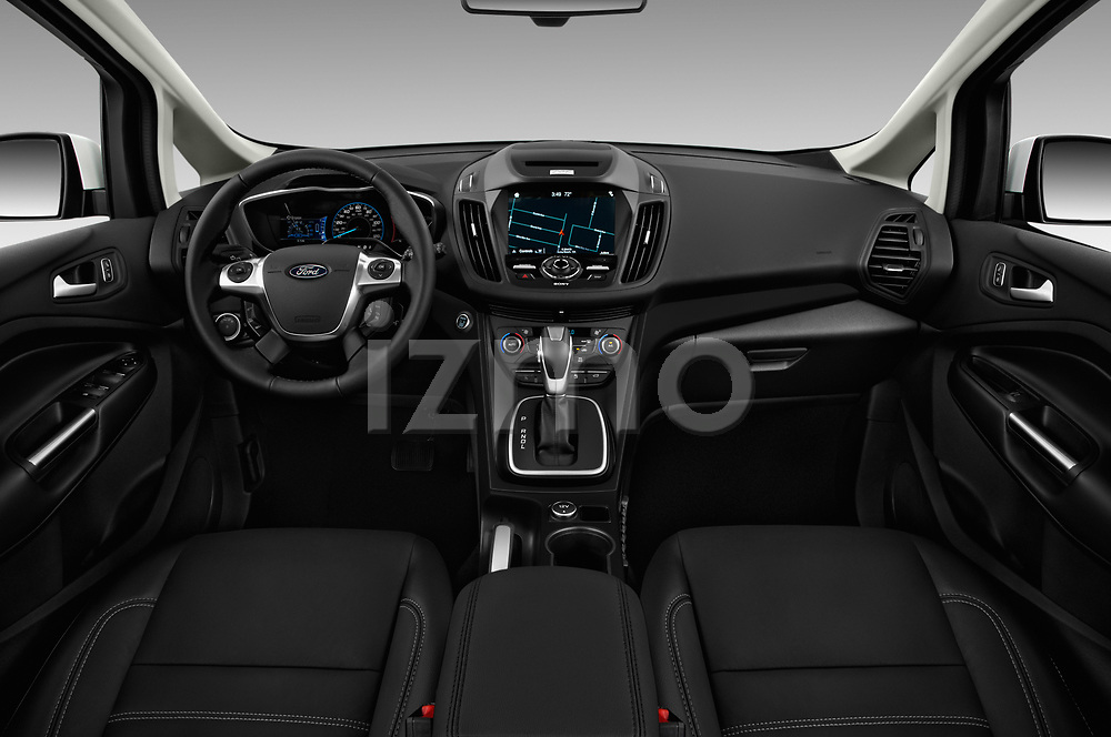Stock photo of straight dashboard view of a 2018 Ford C-Max Hybrid Titanium 5 Door Mini Van