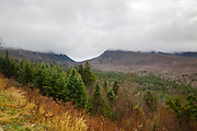 View from a pulloff along the Kancamagus Highway (route 112) in the White Mountains, New Hampshire USA during the autumn months on a cloudy day