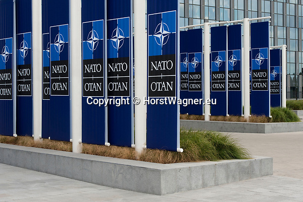 Belgium, Brussels - July 11, 2018 -- NATO summit, meeting of Heads of State / Government; here flags decorating the front of the new building -- Photo © HorstWagner.eu