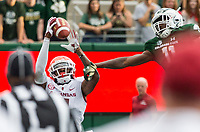 NWA Democrat-Gazette/BEN GOFF @NWABENGOFF<br /> Ryan Pulley, Arkansas cornerback, intercepts a pass intended for Preston Williams, vs Colorado State wide receiver, in the 2nd quarter Saturday, Sept. 8, 2018, at Canvas Stadium in Fort Collins, Colo.