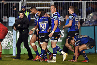 Joe Cokanasiga of Bath Rugby celebrates his second half try with team-mates. Gallagher Premiership match, between Bath Rugby and Sale Sharks on December 2, 2018 at the Recreation Ground in Bath, England. Photo by: Patrick Khachfe / Onside Images