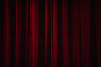 Photo of the curtain in Thorne Hall at Occidental College,  Thursday, March 22, 2012. (Photo by Marc Campos, Occidental College Photographer)