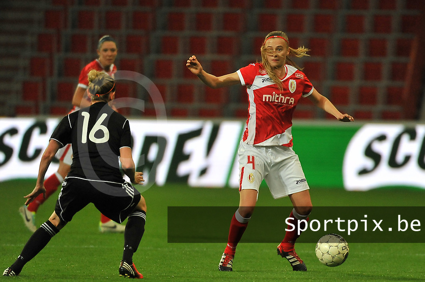 20131009 - LIEGE , BELGIUM : Standard's Julie Biesmans pictured during the female soccer match between STANDARD Femina de Liege and  GLASGOW City LFC , in the 1/16 final ( round of 32 ) first leg in the UEFA Women's Champions League 2013 in stade maurice dufrasne - Sclessin in Liege. Wednesday 9 October 2013. PHOTO DAVID CATRY