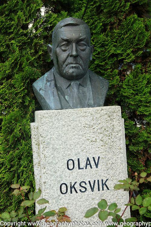 Bust of Norwegian politician Olav Oksvik, Molde, Romsdal county, Norway