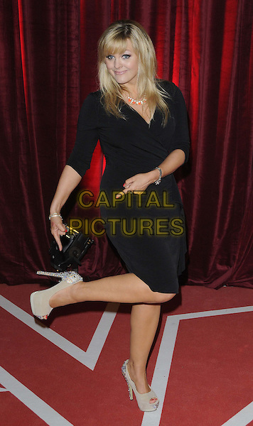 Jo Joyner.attended the British Soap Awards 2013, Media City, Salford, Manchester, England, UK, 18th May 2013..full length black dress wrap pointing to shoe foot leg up standing on one heels .CAP/CAN.©Can Nguyen/Capital Pictures.