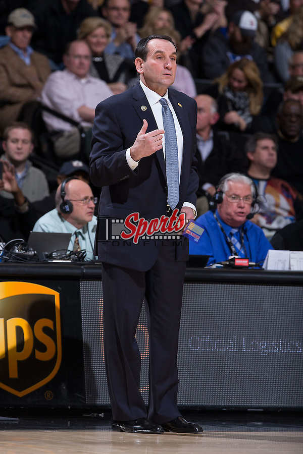 Duke Blue Devils head coach Mike Krzyzewski during first half action against the Wake Forest Demon Deacons at the LJVM Coliseum on January 7, 2015 in Winston-Salem, North Carolina.  The Blue Devils defeated the Demon Deacons 73-65.  (Brian Westerholt/Sports On Film)