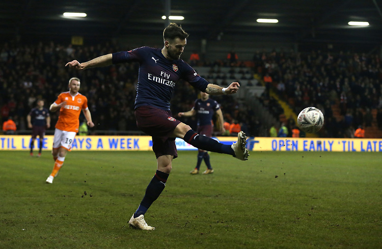 Arsenal's Carl Jenkinson<br /> <br /> Photographer Stephen White/CameraSport<br /> <br /> Emirates FA Cup Third Round - Blackpool v Arsenal - Saturday 5th January 2019 - Bloomfield Road - Blackpool<br />  <br /> World Copyright &copy; 2019 CameraSport. All rights reserved. 43 Linden Ave. Countesthorpe. Leicester. England. LE8 5PG - Tel: +44 (0) 116 277 4147 - admin@camerasport.com - www.camerasport.com