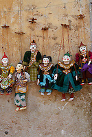 Traditional puppets at Bagan Market area, Myanmar, Burma,