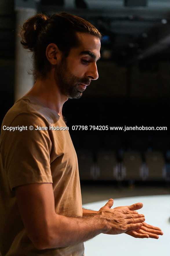 """""""The Arrival"""", written and directed by Bijan Sheibani, opems at the Bush Theatre. Set and costume design is by Samal Black, lighting design by Oliver Fenwick, movement direction by Aline David. The Picture shows: Scott Karim (Tom)"""