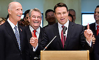 TALLAHASSEE, FLA. 5/3/13-SESSIONEND050313CH-House Speaker Will Weatherford, R-Wesley Chapel, right, celebrates the close of the 2013 session with Gov. Rick Scott, left, and Senate President Don Gaetz, R-Niceville, May 3, 2013 at the Capitol in Tallahassee...COLIN HACKLEY PHOTO
