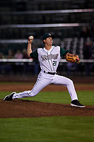Fort Wayne TinCaps relief pitcher Jose Quezada (21) during a Midwest League game against the Quad Cities River Bandits at Parkview Field on May 3, 2019 in Fort Wayne, Indiana. Quad Cities defeated Fort Wayne 4-3. (Zachary Lucy/Four Seam Images)