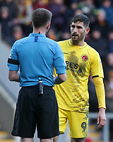 Referee Ollie Yates has a word with Fleetwood Town's Ched Evans<br /> <br /> Photographer David Shipman/CameraSport<br /> <br /> The EFL Sky Bet League One - Bradford City v Fleetwood Town - Saturday 9th February 2019 - Valley Parade - Bradford<br /> <br /> World Copyright &copy; 2019 CameraSport. All rights reserved. 43 Linden Ave. Countesthorpe. Leicester. England. LE8 5PG - Tel: +44 (0) 116 277 4147 - admin@camerasport.com - www.camerasport.com