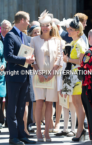 PRINCE WILLIAM, KATE MIDDLETON AND ZARA (nee Phillips) TINDALL<br /> joined other members of the Royal Family for  A Service to Celebrate the Queen's 60th Anniversary of the Coronation Service at Westminster Abbey, London_04/06/2013<br /> Members of the Royal Family attending the Service included The Prince of Wales and The Duchess of Cornwall, The Duke and Duchess of Cambridge, Prince Henry of Wales, The Duke of York and Princesses Beatrice and Eugenie, The Earl and Countess of Wessex and The Lady Louise Mountbatten-Windsor, The Princess Royal, Vice Admiral Sir Tim Laurence, Peter Phillips and Autumn (Kelly) Phillips, Zara (Phillips) Tindall and Mike Tindall, The Duke and Duchess of Gloucester, The Duke and Duchess of Kent, Prince and Princess Michael of Kent<br /> Mandatory Credit Photo: &copy;Francis Dias/NEWSPIX INTERNATIONAL<br /> <br /> **ALL FEES PAYABLE TO: &quot;NEWSPIX INTERNATIONAL&quot;**<br /> <br /> IMMEDIATE CONFIRMATION OF USAGE REQUIRED:<br /> Newspix International, 31 Chinnery Hill, Bishop's Stortford, ENGLAND CM23 3PS<br /> Tel:+441279 324672  ; Fax: +441279656877<br /> Mobile:  07775681153<br /> e-mail: info@newspixinternational.co.uk