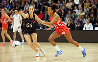 10.09.2017 Silver Ferns Bailey Mes and England's Serena Guthrie in action during the Taini Jamison Trophy match between the Silver Ferns and England at Pettigrew Green Arena in Napier. Mandatory Photo Credit ©Michael Bradley.