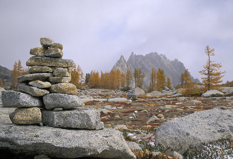 """A pile of rocks called a """"cairn"""" are used to mark a trail or route, Enchantment Lakes, Alpine Lakes Wilderness, Washington"""