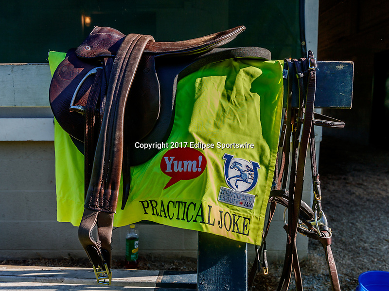 LOUISVILLE, KENTUCKY - MAY 02: The saddle and saddlecloth for Practical Joke are hung outside the barn at Churchill Downs on May 2, 2017 in Louisville, Kentucky. (Photo by Jesse Caris/Eclipse Sportswire/Getty Images)