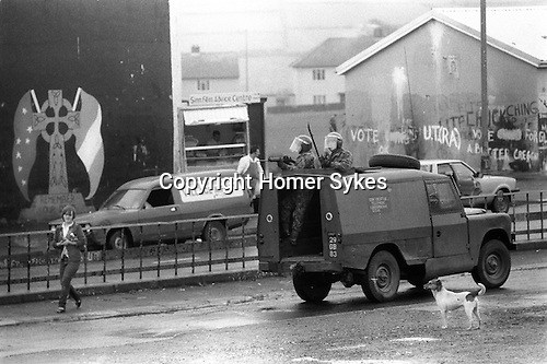 Derry Northern Ireland Londonderry 1983 British soldiers on patrol.