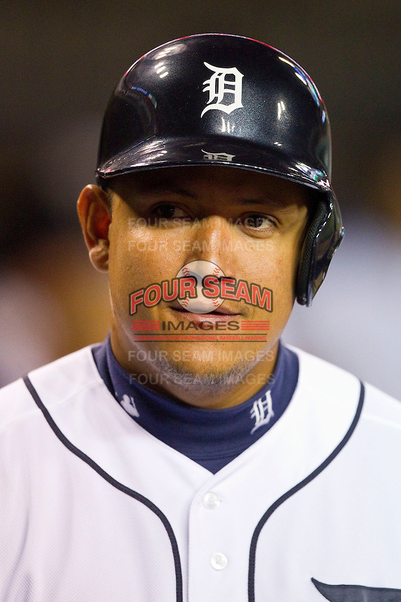Miguel Cabrera (24) of the Detroit Tigers during the Major League Baseball game game against the Tampa Bay Rays at Comerica Park on June 4, 2013 in Detroit, Michigan.  The Tigers defeated the Rays 10-1.  Brian Westerholt/Four Seam Images