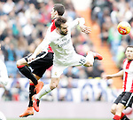 Real Madrid's Daniel Carvajal (r) and Athletic de Bilbao's Sabin Merino during La Liga match. February 13,2016. (ALTERPHOTOS/Acero)