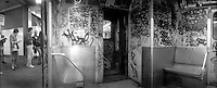 (021208-SWR09.jpg) New York, NY - Circa 1989 -- A  Graffiti Covered S Train (Grand Street Shuttle)  at tje 14th Street Subway Station on the IND line.© Stacy Walsh Rosesntock