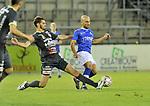 2018-08-11 / voetbal / seizoen 2018 - 2019 / Crocky Cup / ASV Geel - Tilleur / Nayib Lagouireh (r) (Geel) draait weg bij Fabrice Stoffels (l) (Tilleur)